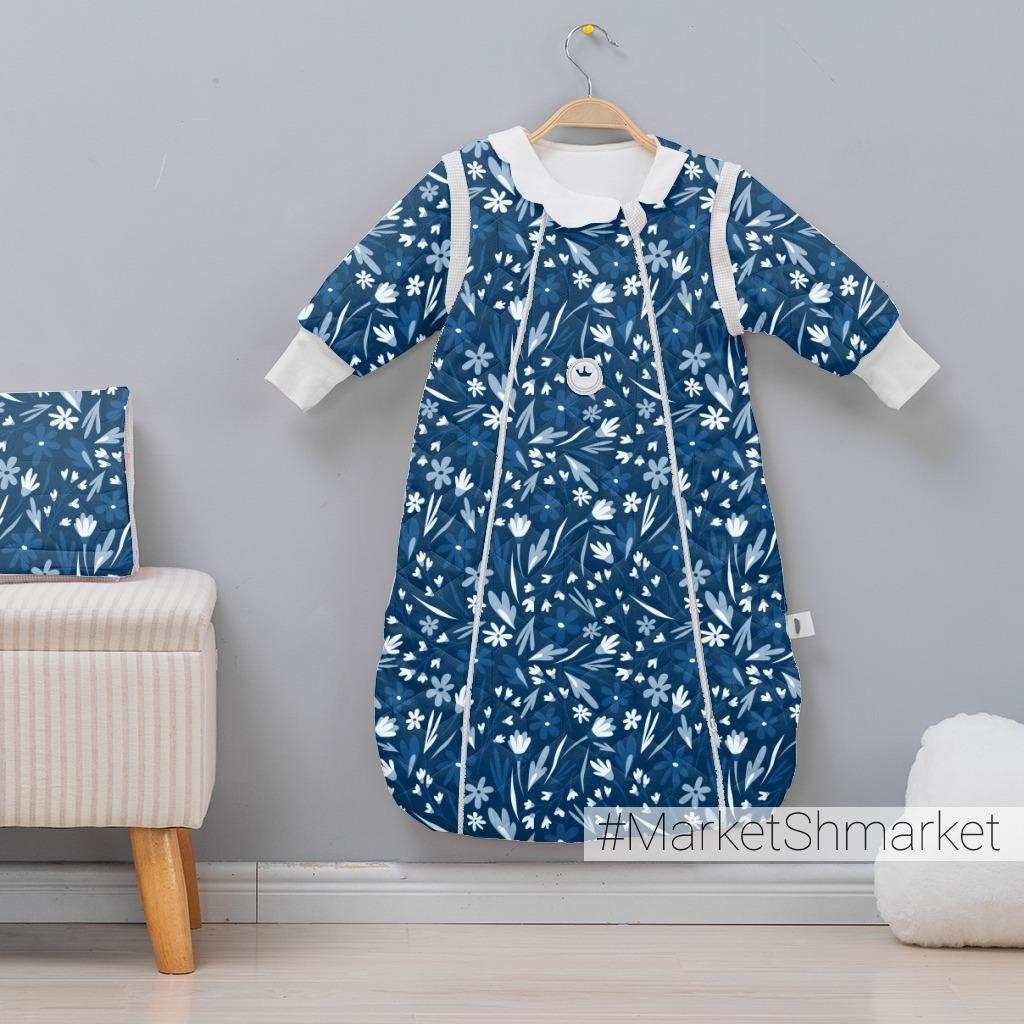 Сине-голубой цветочный принт. Летние цветы