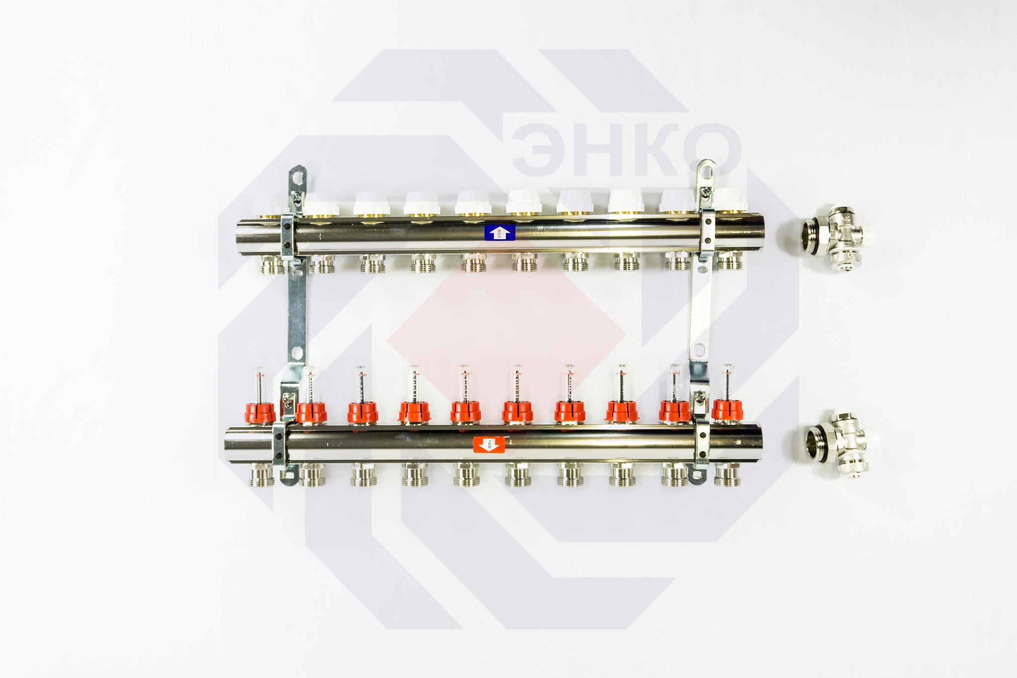 Комплект коллекторов с расходомерами ITAP 916C 10 контуров