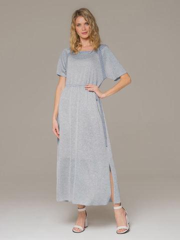 Женское платье голубого цвета на поясе - фото 1
