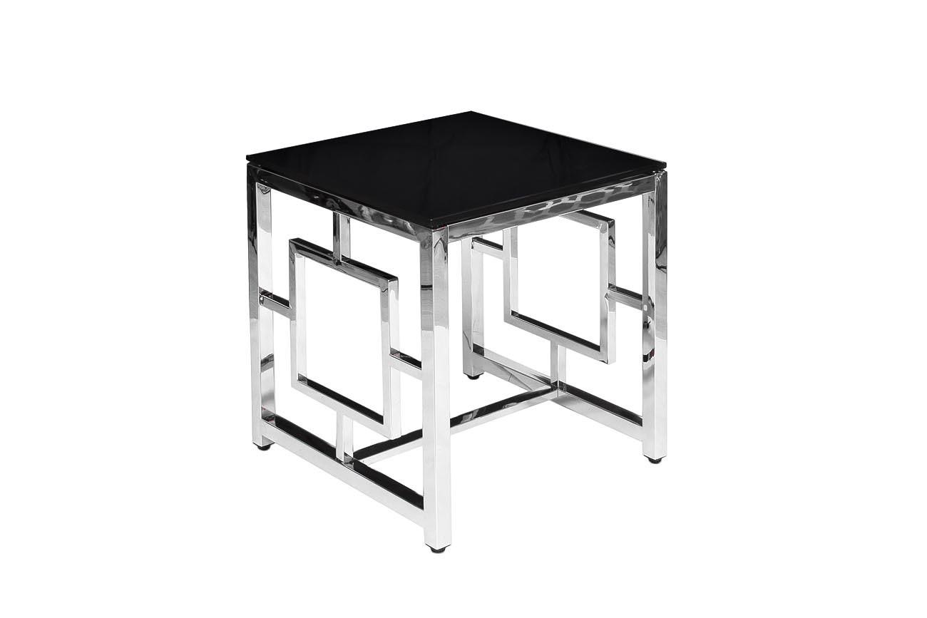Стол журнальный GY-ET2051212 черное стекло/хром 53*50*50см