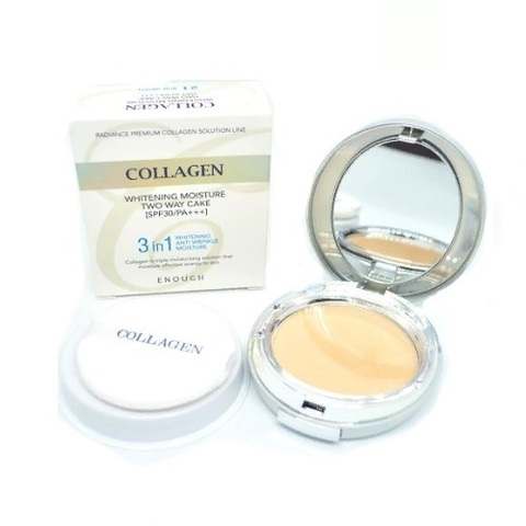 Enough Пудра для лица 3 в 1 с запасным блоком т.13  Collagen Whitening Moisture Two Way Cake 13 гр. + 13 гр.