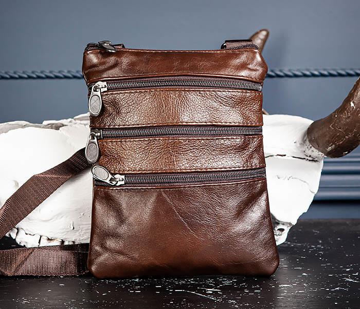 BAG542-2 Маленькая кожаная сумка планшет с ремнем на плечо фото 04