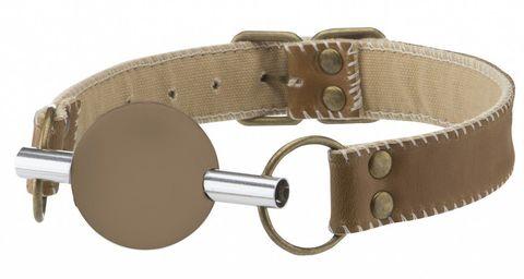 Коричневый силиконовый кляп-шар на кожаных ремешках