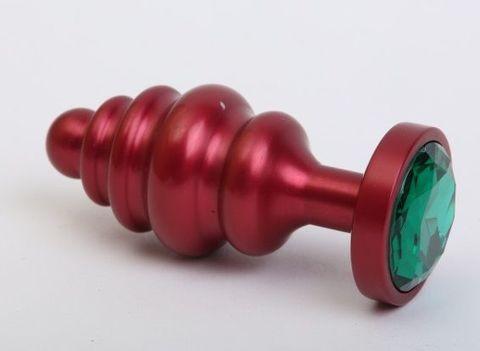 Красная ребристая анальная пробка с зеленым стразом - 7,3 см.