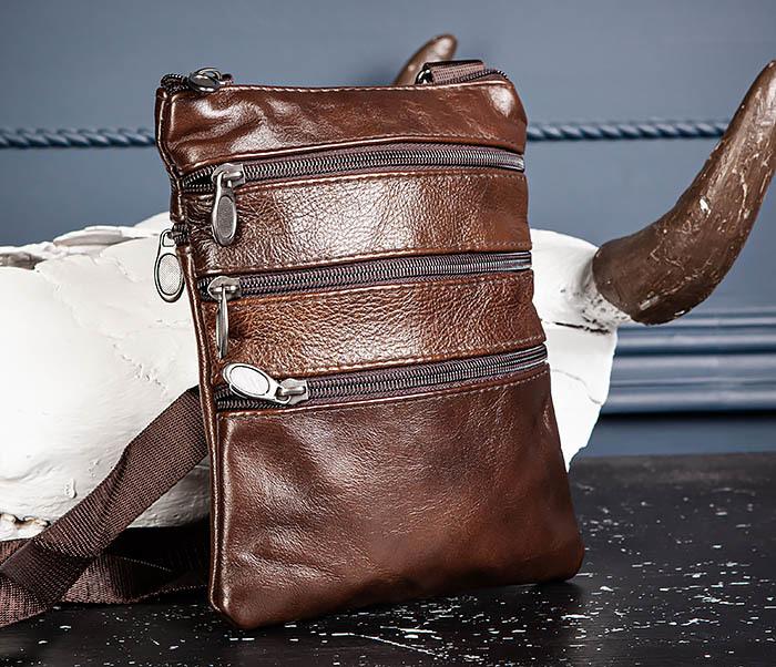 BAG542-2 Маленькая кожаная сумка планшет с ремнем на плечо фото 05