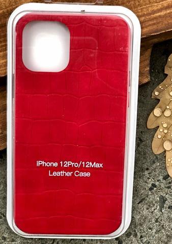 Чехол iPhone 12 /5,4''/ Leather crocodile case /red/
