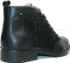 Кожаные зимние ботинки мужские классические Luciano Bellini 6057-58K Black Leathers & Nubuk.