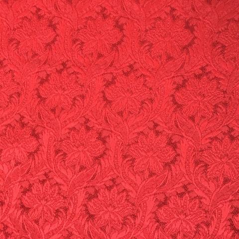 Мерный лоскут 1,0 м жаккард красный с цветами 3270