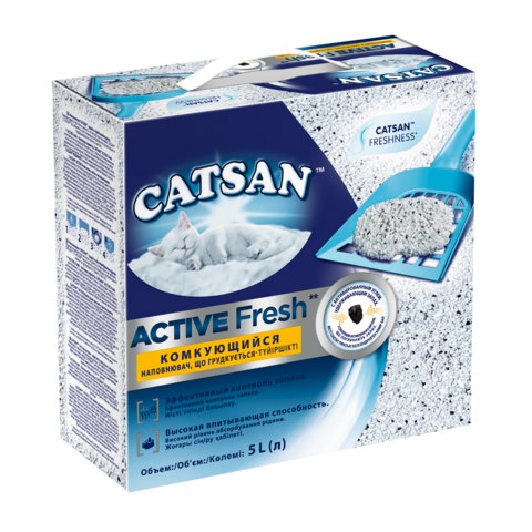 Catsan Active Fresh Наполнитель для туалета кошек комкующийся