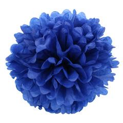 Помпон из бумаги, 40 см, темно-синий