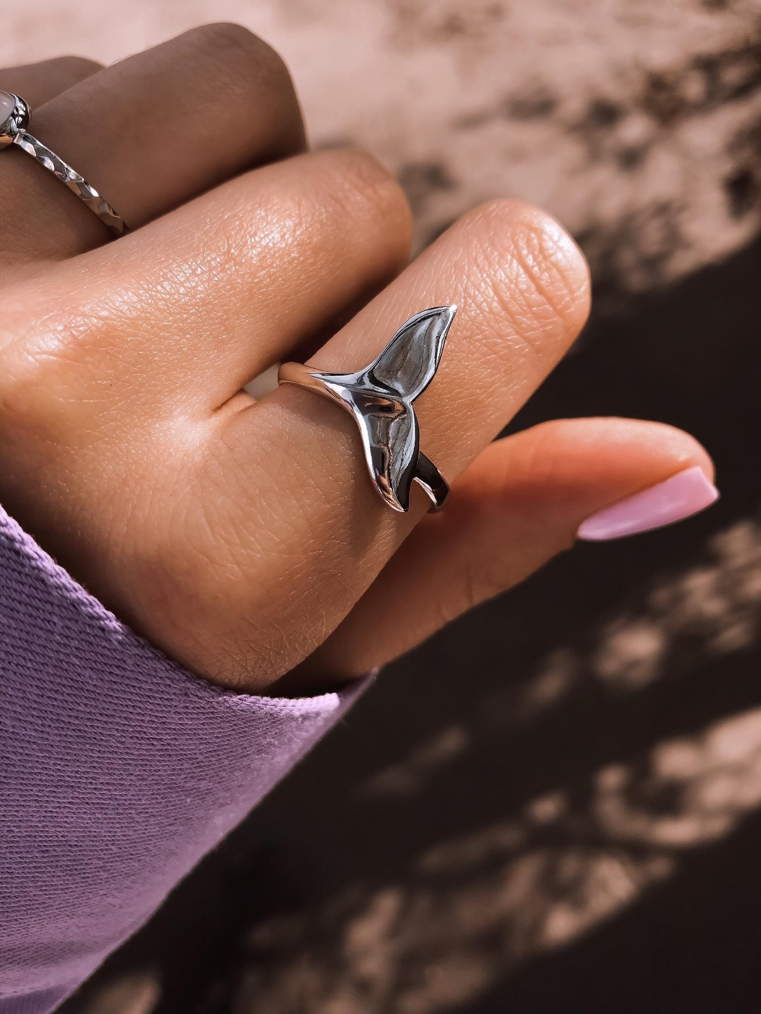Серебряное кольцо кит