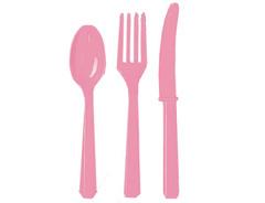 Столовые приборы пластик Розовые / Pink / 24 шт.