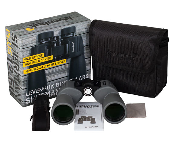 Комплект поставки бинокля Levenhuk Sherman Plus 12 50, серого цвета