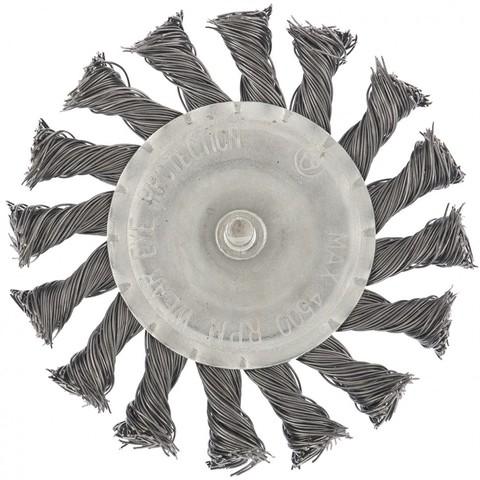 Щетка для дрели, 100 мм, плоская со шпилькой, крученая металлическая проволока Matrix