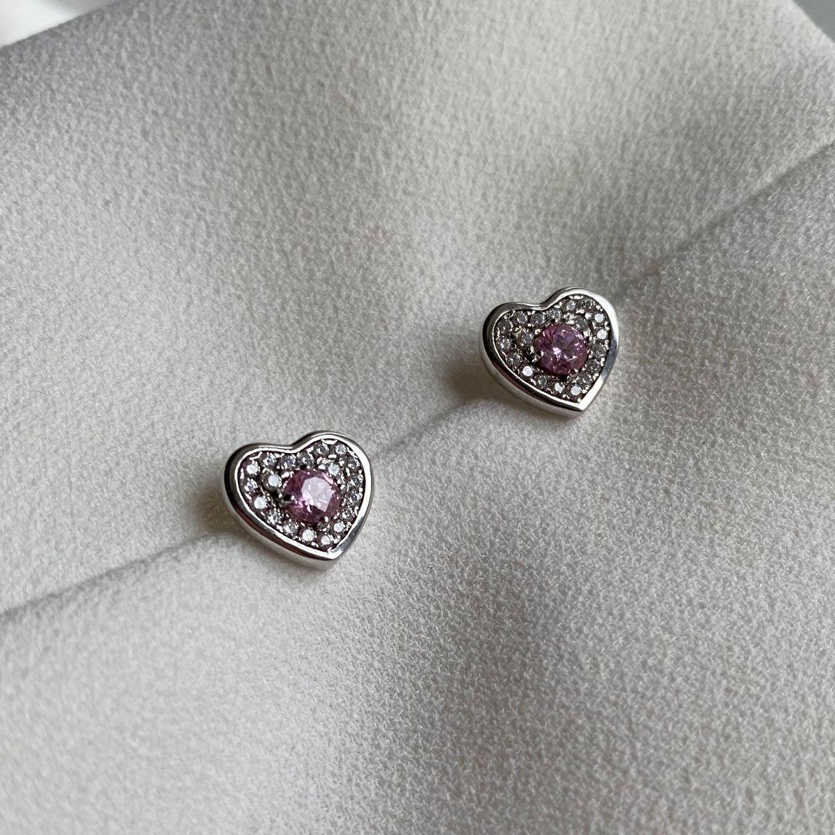Серьги-пусет Сердечки С Цирконом розовый (серебро 925)