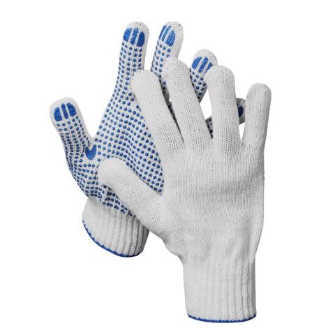 DEXX перчатки рабочие, 10 пар в упаковке, х/б 7 класс, с ПВХ покрытием (точка)