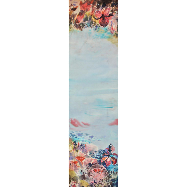 Шелковый шарф батик Тоскана - крепдешин
