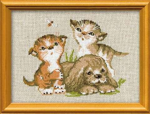 Набор для вышивания крестом «Котята и щенок» (673)