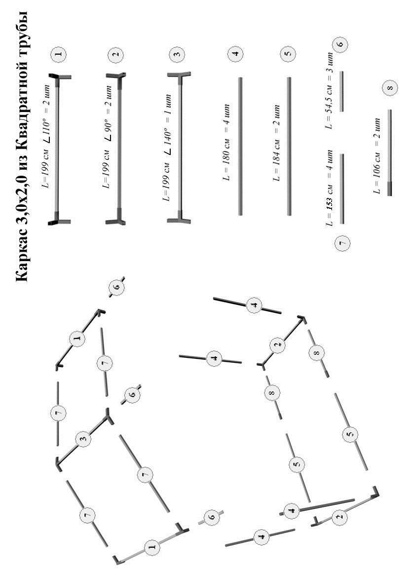 Схема сборки торговой палатки Митек Домик 3x2 из квадратной трубы ⊡ 20х20 мм