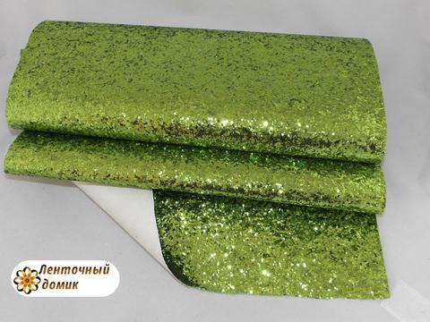 Глиттер крупный на тканевой основе светло зеленый