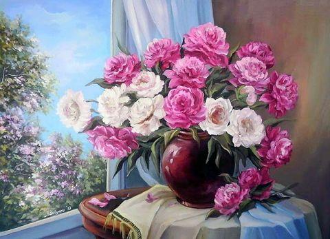 Алмазная Мозаика + Багет 30x40 Розовый букет у окна