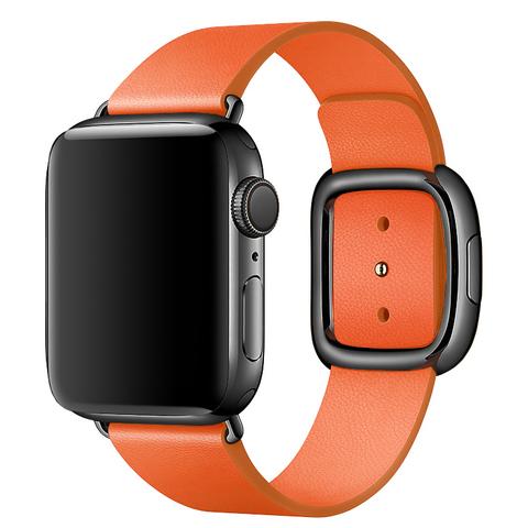 Ремешок Apple watch 38mm Modern Buckle Leather black /orange/