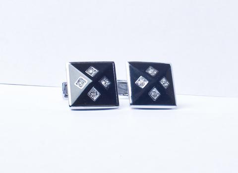 Запонки La madre белого металла черные квадратные выпуклые
