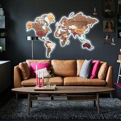 Карты Мира из дерева с подсветкой фото в интерьере 2