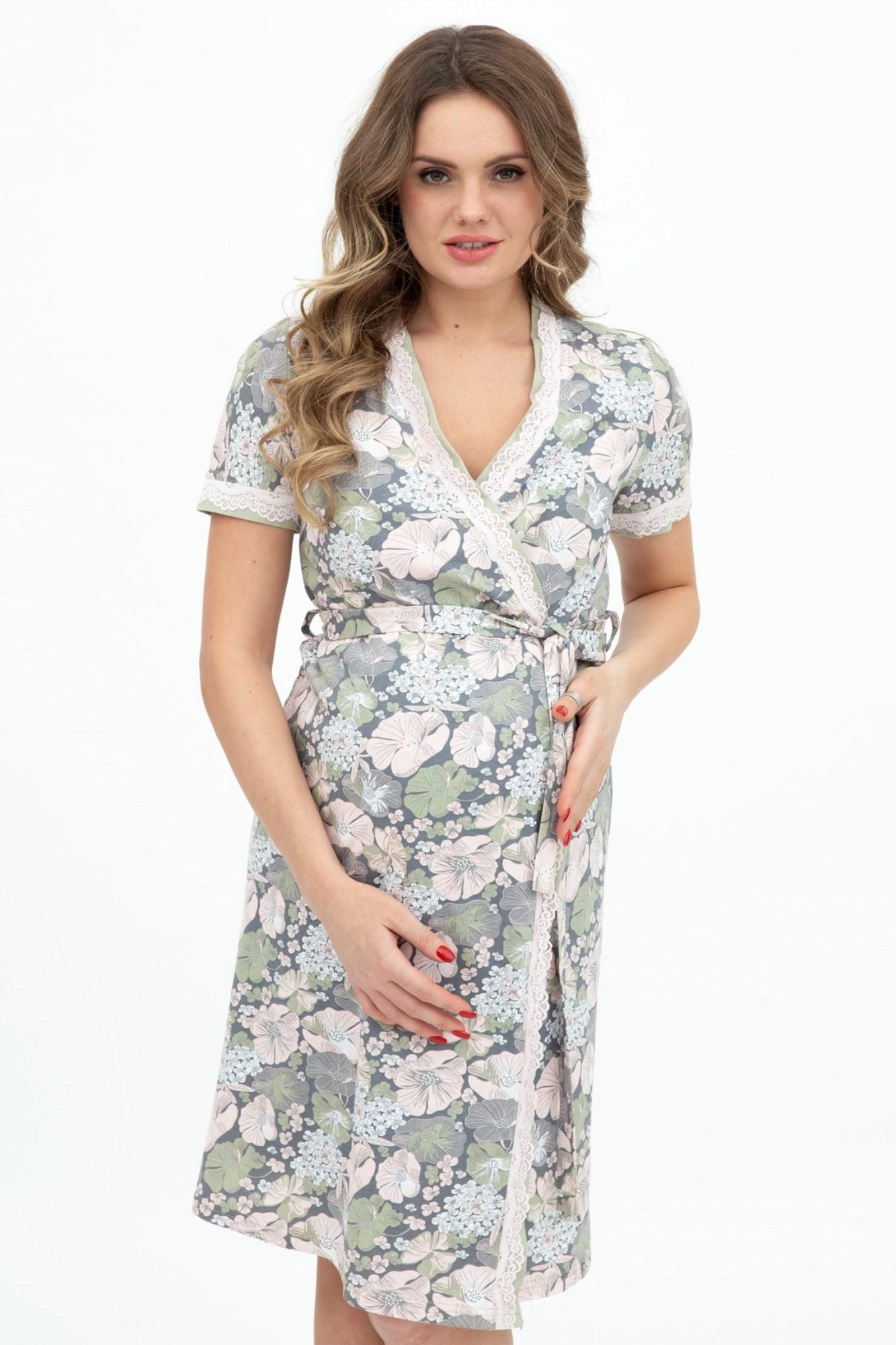 Комплект для беременных и кормящих с халатом и сорочкой 09430 цветочный принт