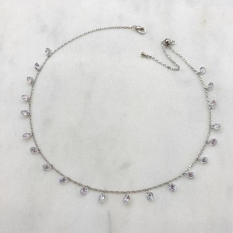 Чокер-цепочка с круглыми цирконами б/оправы (серебристый)
