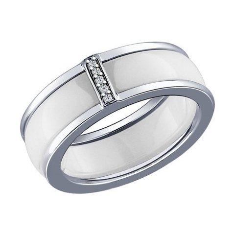 94011632 - Кольцо из серебра с керамической вставкой и фианитами