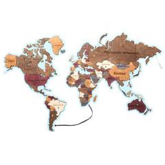 Карты Мира из дерева с подсветкой фото 3