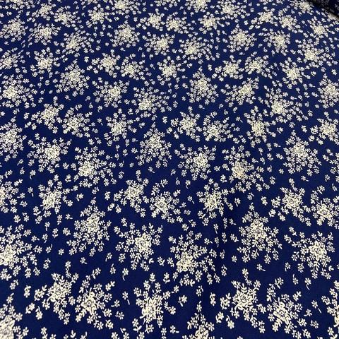 Ткань хлопок  синий в белый цветочек 2168
