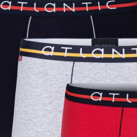 Мужские трусы шорты Atlantic, набор из 3 шт., хлопок, темно-синие + серый меланж + красные, 3MH-004