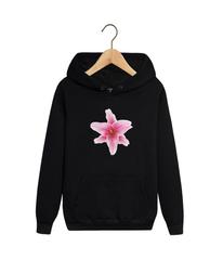 Толстовка черная с капюшоном (худи, кенгуру) и принтом Цветы (Лилии) 001
