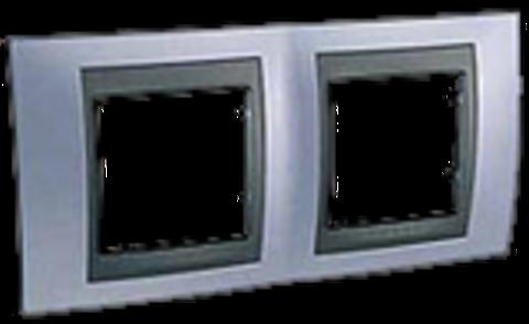 Рамка на 2 поста. Цвет Берилл-графит. Schneider electric Unica Top. MGU66.004.298