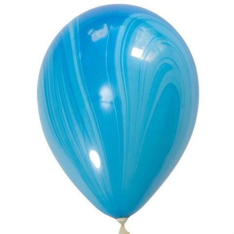 Шары супер агат, голубой, 30 см