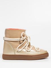 Высокие комбинированные кеды INUIKII 70202-67 Sneaker Patent Beige-Rose на меху