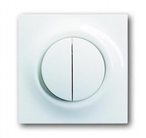 Переключатель двухклавишный с подсветкой. Цвет Альпийский белый. ABB impuls. 1753-0-4856+1012-0-1671