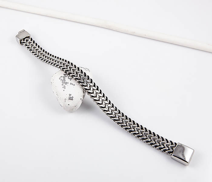 BM553 Стальной браслет плотного плетения с кожаным шнуром фото 02