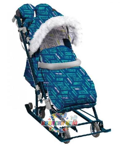 Санки-коляска «Ника Детям 7-8S» синие