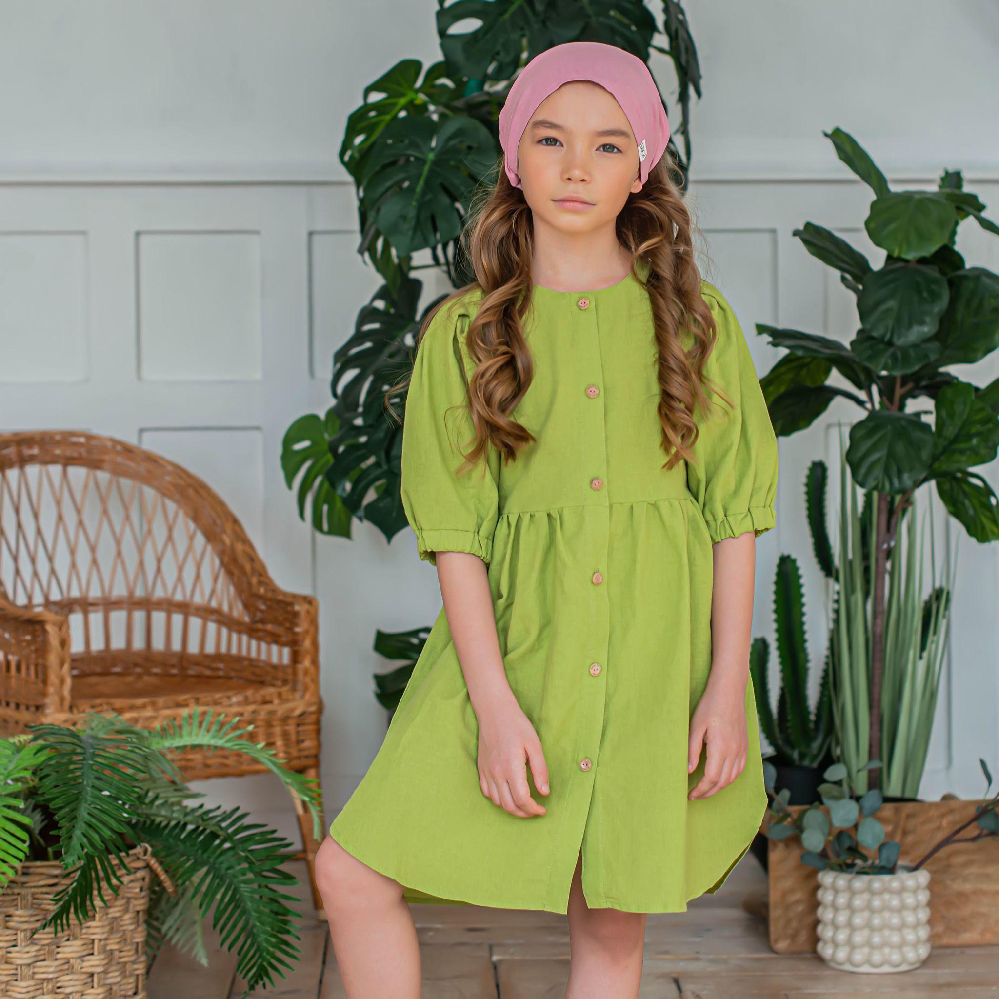 Cotton shirt dress for teens - Lime