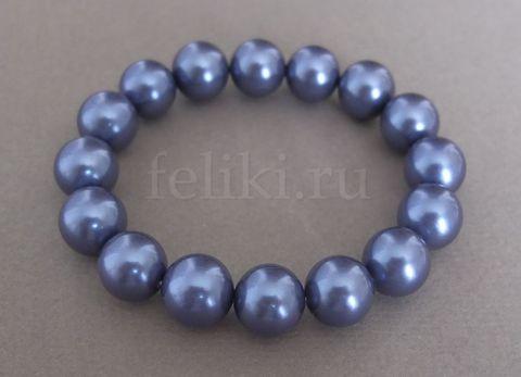 браслет синий из крупного жемчуга майорка_фото