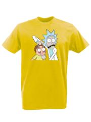 Футболка с принтом мультфильма Рик и Морти (Rick and Morty) желтая 001