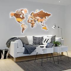 Карты Мира из дерева с подсветкой фото в интерьере 5