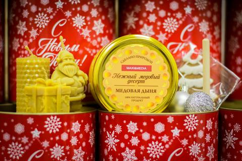 Новогодние корпоративные подарки для рекламного агенства с брендированием (пример 2019 год)
