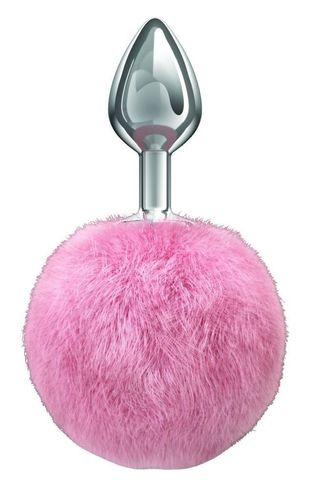 Серебристая анальная пробка с розовым пушистым хвостиком Twinkle