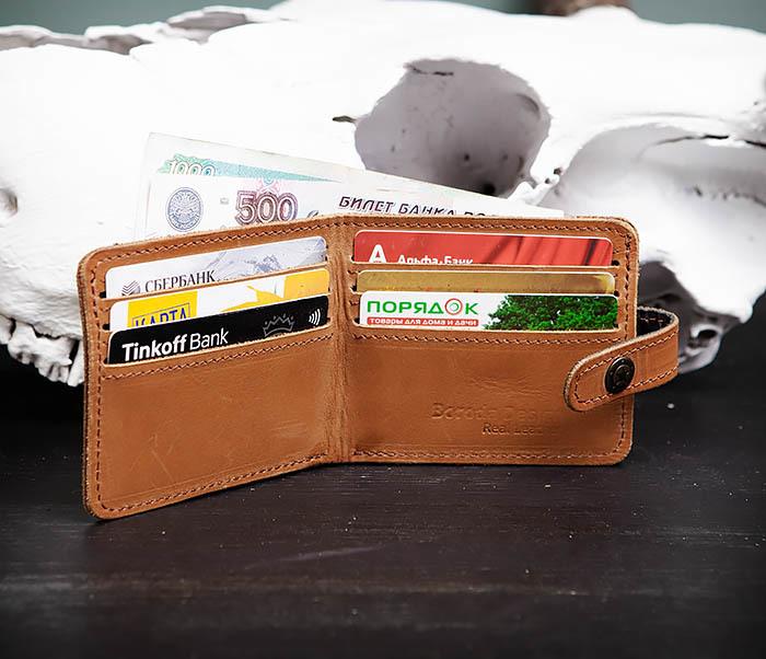WB162 Мужской кожаный кошелек ручной работы, «Boroda Design» фото 05