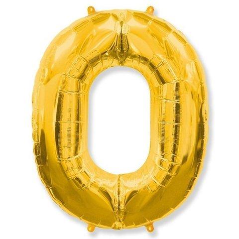 Фольгированная цифра 0, золото