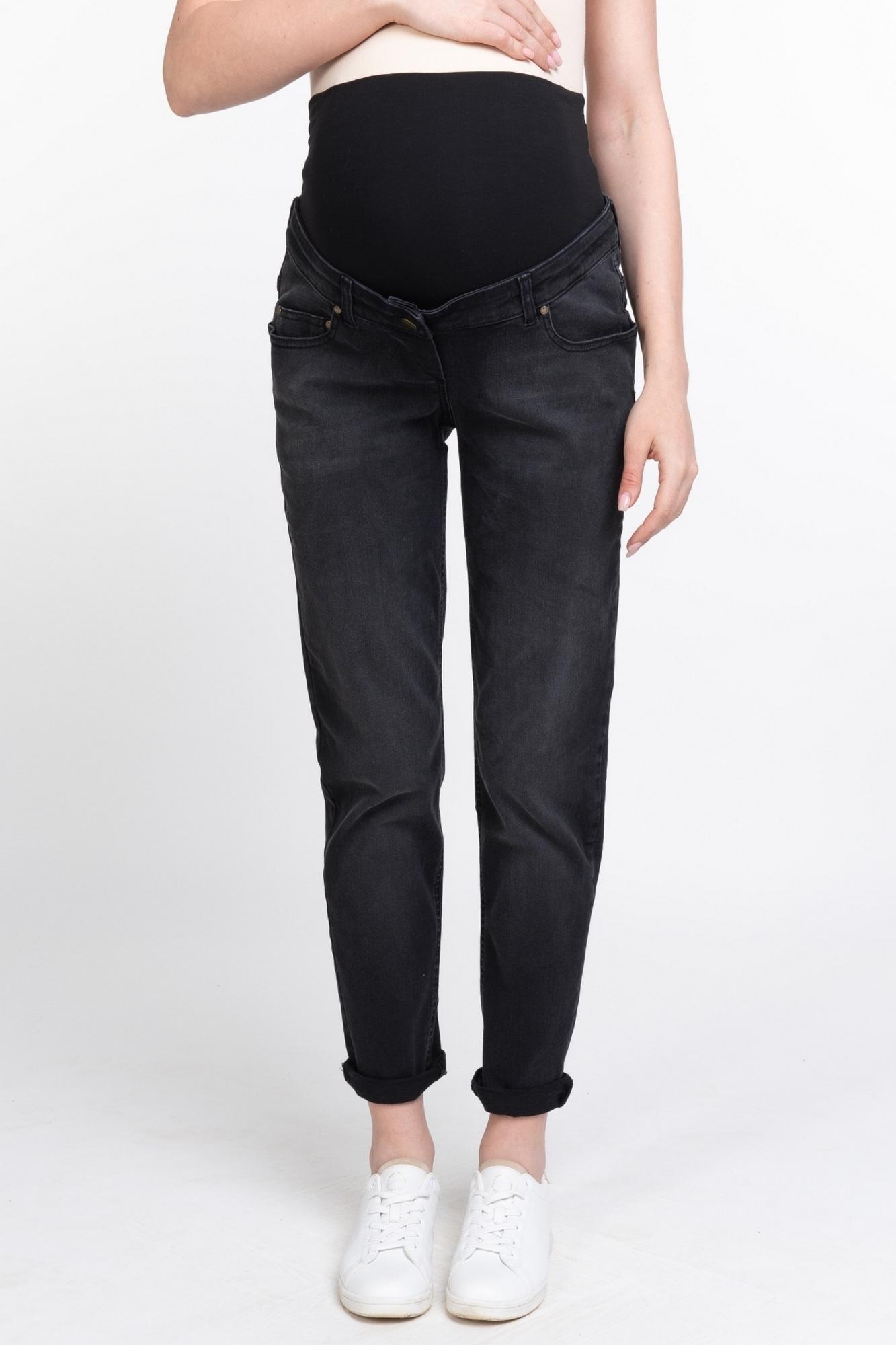 Фото джинсы-бойфренды для беременных MAMA`S FANTASY, средняя посадка, высокая вставка от магазина СкороМама, черный, размеры.